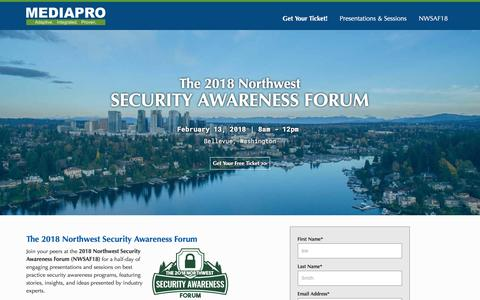 Screenshot of Landing Page mediapro.com - 2018 Northwest Security Awareness Forum - captured March 27, 2018