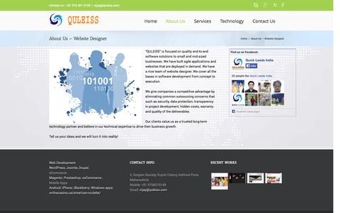 Screenshot of About Page quleiss.com - Website Designer | Website Designers | ecommerce Website | - captured Nov. 2, 2014