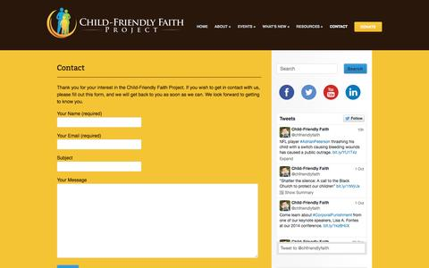 Screenshot of Contact Page childfriendlyfaith.org - Contact | Child-Friendly Faith Project - captured Oct. 2, 2014