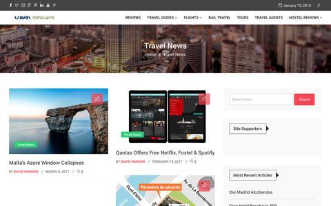 Screenshot of Press Page travel-network.co - Travel News - Travel Network - captured Jan. 15, 2018
