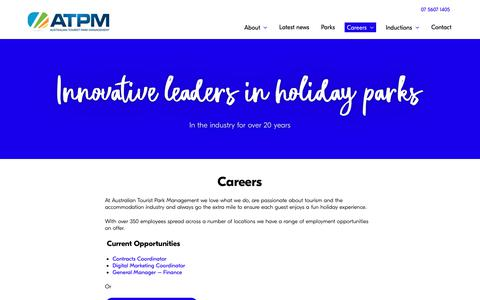 Screenshot of Jobs Page atpm.com.au - Careers   Australian Tourist Park Management - captured Oct. 4, 2018