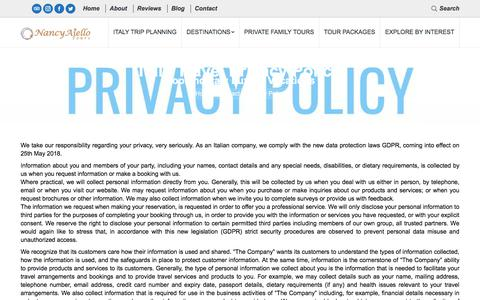 Screenshot of Privacy Page nancyaiellotours.com - Privacy Policy - Italy Travel Planning - Luxury Italian Vacations - captured Sept. 20, 2018