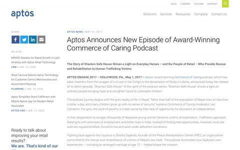 Screenshot of Press Page aptos.com - Aptos Announces New Episode of Award-Winning Commerce of Caring Podcast - Aptos - captured Feb. 20, 2020