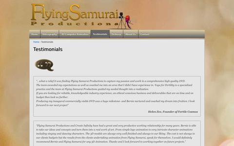 Screenshot of Testimonials Page flyingsamurai.com.au - Testimonials | Flying Samurai Productions - captured Feb. 10, 2016