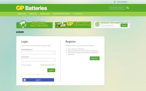 Screenshot of Login Page gpbatteries.com - GP Batteries -  Customer Login - captured Oct. 17, 2016