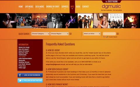 Screenshot of FAQ Page dgmusic.co.uk - Frequently Asked Questions - captured Oct. 5, 2014