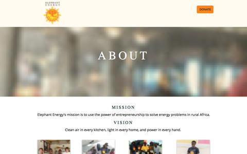 Screenshot of About Page elephantenergy.org - ABOUT | Energy Poverty | Africa | Elephant Energy - captured Aug. 12, 2019