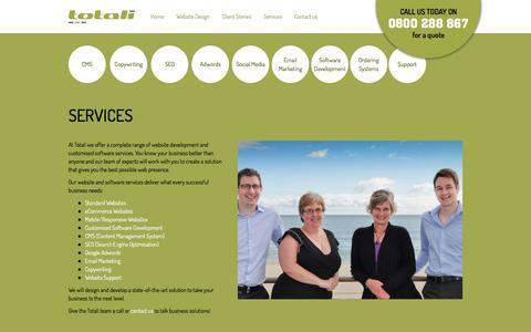 Screenshot of Services Page totali.co.nz - Complete range of website design and development services - captured Dec. 19, 2016