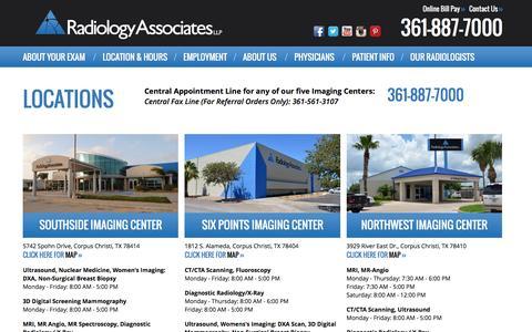 Screenshot of Locations Page xraydocs.com - Radiology Associates LLP - captured Dec. 3, 2016