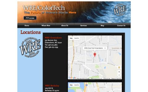 Screenshot of Locations Page wrecolor.com - WRE/ColorTech gravure cylinders | Locations - captured Nov. 30, 2016