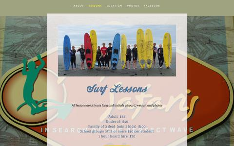 Screenshot of Menu Page surfinsafaris.co.nz - Lessons — Surfin Safaris - captured Dec. 2, 2016