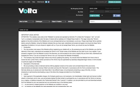 Screenshot of Terms Page volta.ie - VOLTA - Video on Demand - Stream or Download Independent Irish and International Films Online - captured Oct. 7, 2014