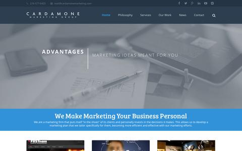 Screenshot of Home Page cardamonemarketing.com - CMG - Cleveland Web Design and Cleveland SEO - captured Oct. 1, 2014