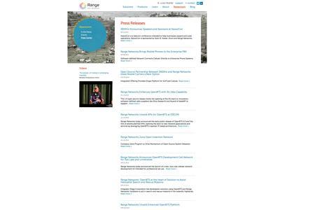 Screenshot of Press Page rangenetworks.com - Range Networks Press Releases - captured Sept. 30, 2014
