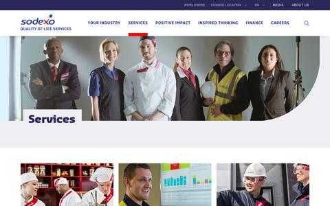 Screenshot of Services Page sodexo.com - Sodexo Catering, Facilities Management, Employee Benefits and Personal and Home Services - captured March 8, 2019
