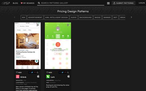 Screenshot of Pricing Page mobile-patterns.com - Pricing - UI UX Design Patterns :: Mobile Patterns - captured Nov. 23, 2018
