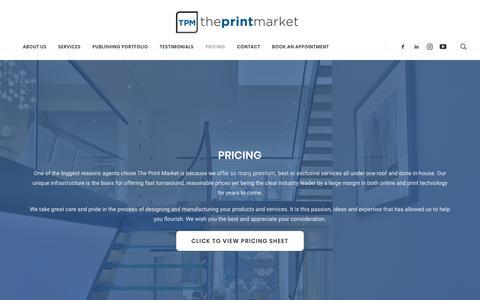 Screenshot of Pricing Page theprintmarket.com - Pricing – The Print Market - captured Nov. 4, 2018