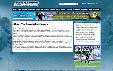 Screenshot of About Page topdrawersoccer.com - About TopDrawerSoccer.com - captured June 21, 2017