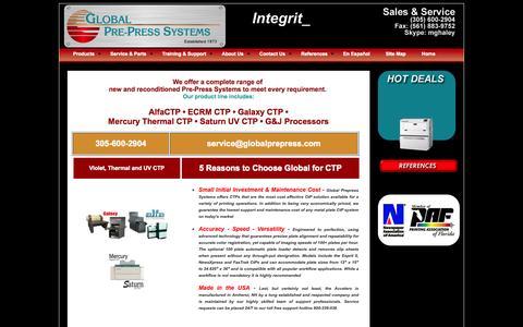 Screenshot of Products Page globalprepress.com - Global Pre-Press: Digital Pre-Press Systems - captured Oct. 8, 2014