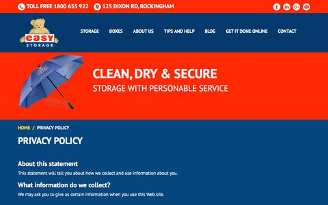 Screenshot of Privacy Page easystorage.com.au - Privacy Policy | Easy Storage Boxes Rockingham, Perth - captured July 13, 2017