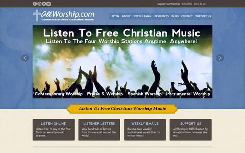 Screenshot of Home Page allworship.com - AllWorship.com – Listen Free to Christian Worship Music | AllWorship.com - captured Sept. 24, 2014