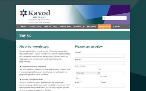 Screenshot of Signup Page kavodseniorlife.org - Kavod Senior Life   –  Sign up - captured Jan. 9, 2016