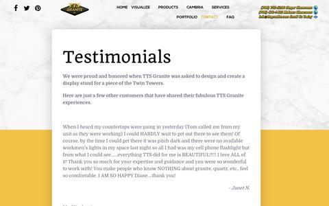 Screenshot of Testimonials Page ttsgranite.com - Testimonials - captured June 17, 2017