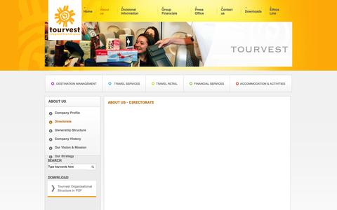 Screenshot of About Page tourvest.co.za - Tourvest - About us - Directorate - captured Oct. 7, 2014