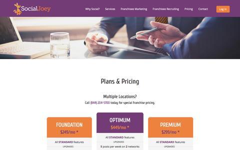 Screenshot of Pricing Page socialjoey.com - Low Cost Facebook & Social Media Management | TN | SocialJoey - captured July 8, 2018