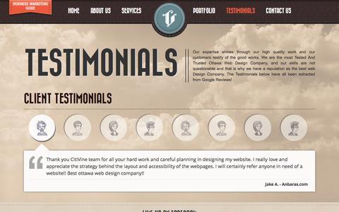 Screenshot of Testimonials Page citivine.ca - SEO Company Gatineau, Web Design Ottwa, Website Development Ottawa - Testimonials - captured Oct. 2, 2014