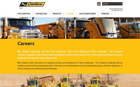 Screenshot of Jobs Page catalano.com.au - Careers - B&J Catalano - captured Nov. 1, 2014