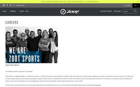 Screenshot of Jobs Page zootsports.com - Zoot Sports Careers - captured Sept. 23, 2019