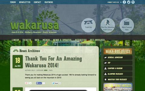 Screenshot of Press Page wakarusa.com - News Archives - Wakarusa Music Festival - captured Sept. 26, 2014