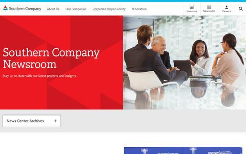 Screenshot of Press Page southerncompany.com - Newsroom - captured Feb. 13, 2018