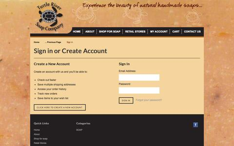 Screenshot of Login Page turtleriversoap.com - Turtle River Soap Company - Sign in - captured Oct. 26, 2014