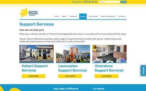 Screenshot of Support Page cancertas.org.au - Cancer Council TasmaniaSupport Services | Cancer Council Tasmania - captured Oct. 1, 2014