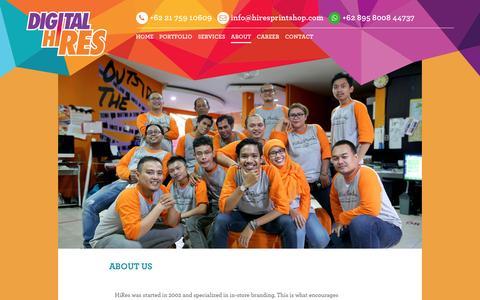 Screenshot of About Page hiresprintshop.com - About Us - HIRESPRINTSHOP   DIGITAL PRINTING JAKARTA - captured Sept. 26, 2016
