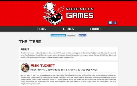 Screenshot of Team Page redefinitiongames.com - The Team   Redefinition Games - captured Aug. 19, 2016
