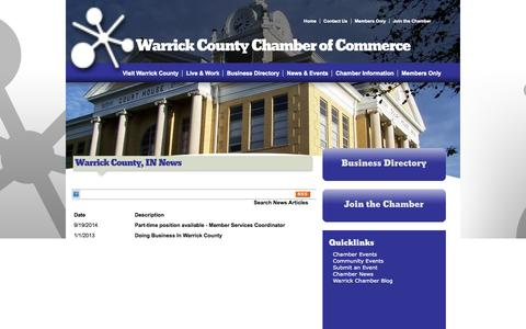 Screenshot of Press Page warrickchamber.org - Warrick County, IN News - Warrick County | Warrick County Chamber of Commerce | Boonville, IN - captured Oct. 7, 2014