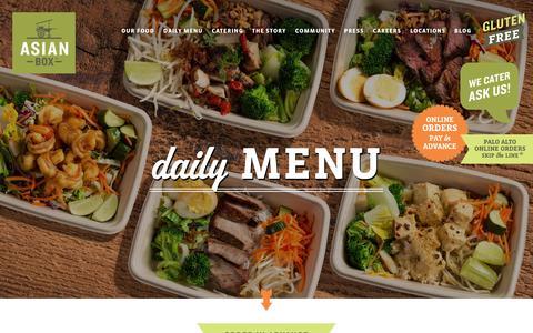 Screenshot of Menu Page asianbox.com - Daily Menu - Asian Box Palo Alto - captured March 28, 2016