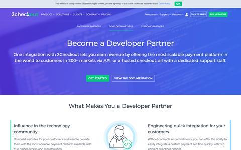Screenshot of Developers Page 2checkout.com - Become a 2Checkout Developer Partner - captured Nov. 21, 2018