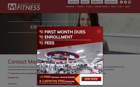 Screenshot of Contact Page mountainsidefitness.com - Contact Us - Mountainside Fitness - captured Sept. 23, 2018