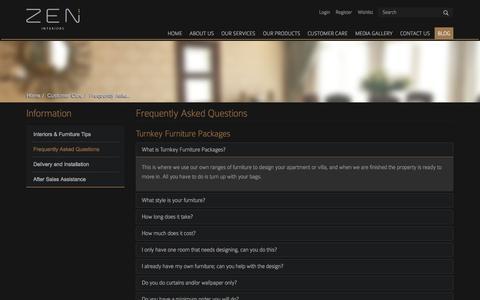 Screenshot of FAQ Page zeninteriors.net - Frequently Asked Questions   Zen Interiors - captured Oct. 9, 2014