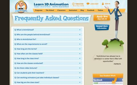 Screenshot of FAQ Page animschool.com - FAQ | AnimSchool - captured July 25, 2016