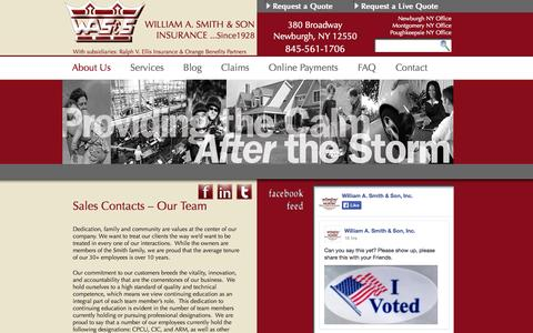 Screenshot of Team Page wasmithandson.com - Sales Contacts - captured Nov. 5, 2014