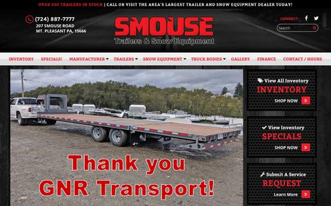 Screenshot of Home Page smouse.com - Home | SMOUSE TRUCKS & VANS, INC - Enclosed, Flatbed, Dump, and Utility Trailers and Snow Equipment in PA - captured Oct. 20, 2018