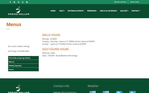 Screenshot of Hours Page springhollowgolf.com - Spring City, PA Golf - Spring Hollow Golf Club - 610 948 5566 - captured Oct. 24, 2017