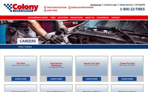 Screenshot of Jobs Page colonytire.com - Careers - Colony Tire - captured Sept. 28, 2018