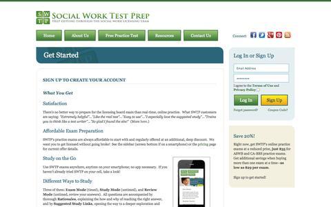 Screenshot of Signup Page socialworktestprep.com - Get Started | Social Work Test Prep - captured Oct. 29, 2014