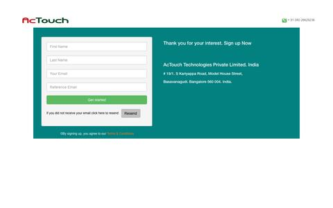 Screenshot of Signup Page actouch.com - AcTouch - captured Nov. 20, 2016